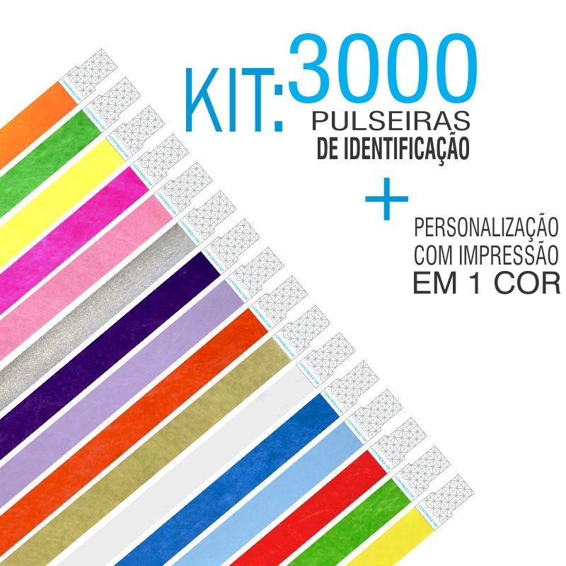 Pulseiras Identificação Tyvek Kit 3000 unid