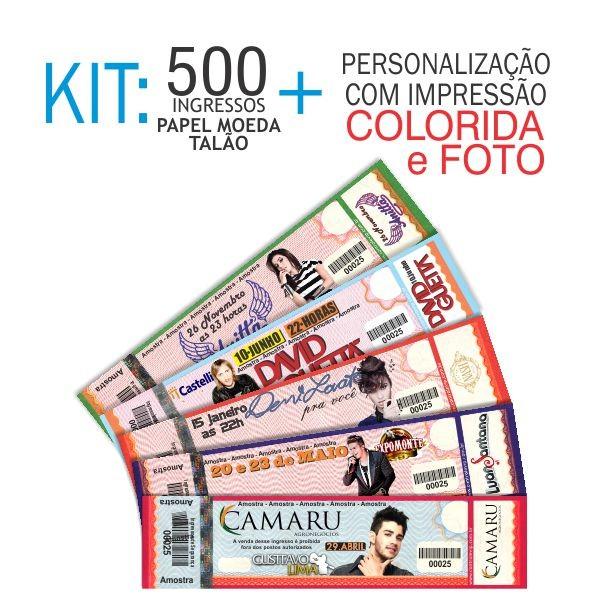 Ingresso Papel Moeda Talão Kit 500 unid