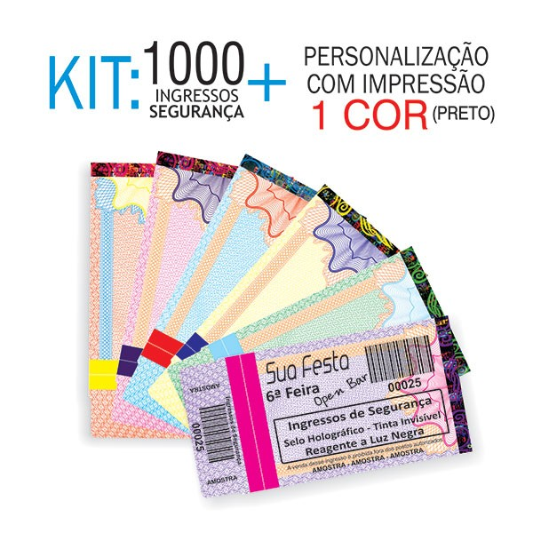 Ingressos de Segurança Kit 1000 unid