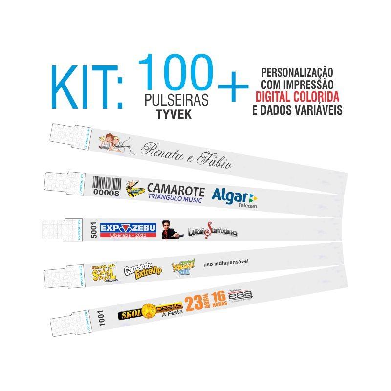 Pulseiras Identificação Tyvek DIGITAL Kit 100 unid