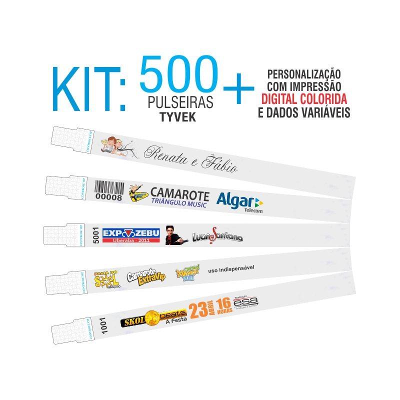 Pulseiras Identificação Tyvek DIGITAL Kit 500 unid