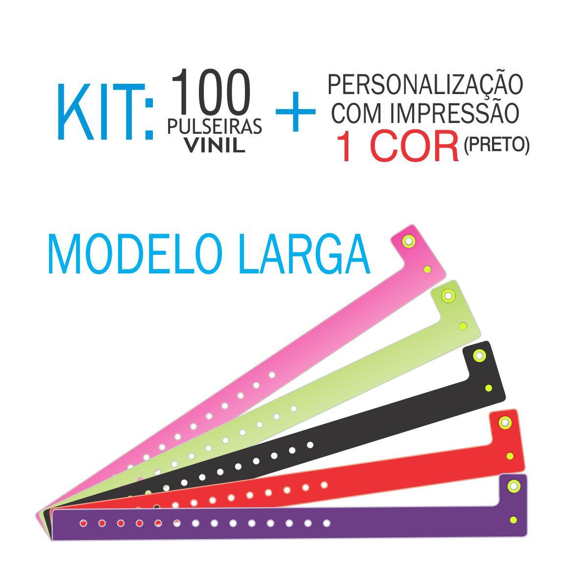 Pulseiras de identificação em Vinil Larga Kit 100 unid
