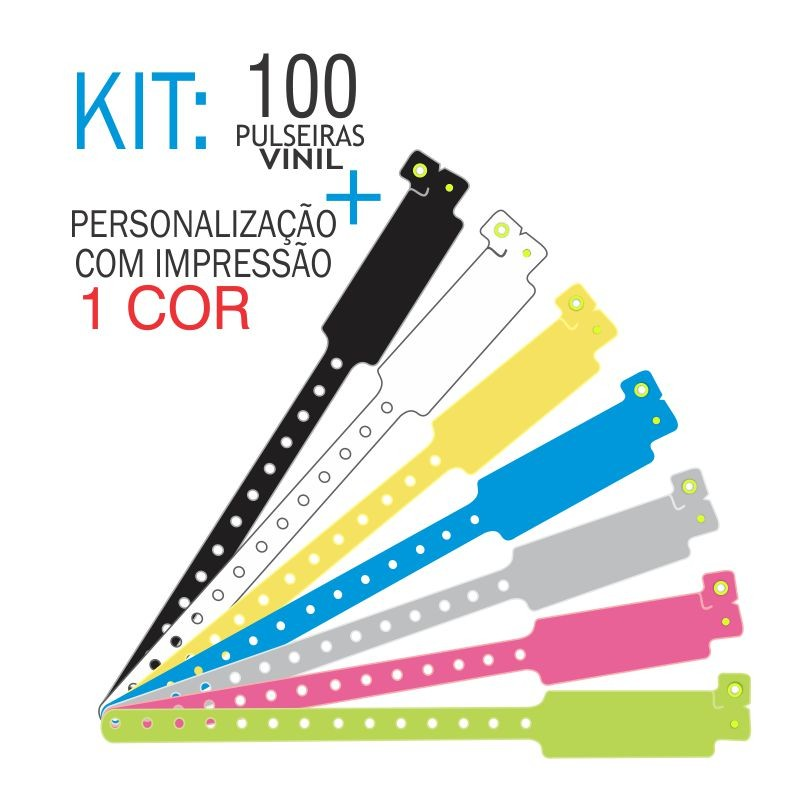 Pulseiras de identificação em Vinil Super Larga Kit 100 unid