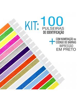 Pulseiras Identificação Tyvek com Numeração Kit 100 unid (Numeração Contínua)