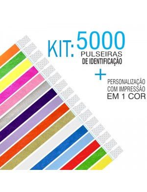 Pulseiras Identificação Tyvek Kit 5000 unid
