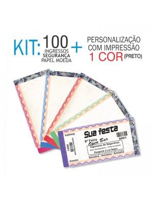 Ingressos em Papel Moeda Kit 100 unid