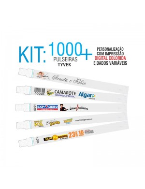 Pulseiras Identificação Tyvek DIGITAL Kit 1000 unid