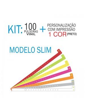Pulseiras de identificação em Vinil Slim Kit 100 unid
